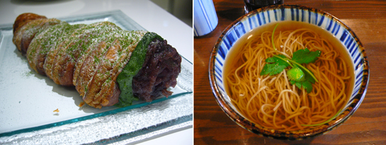 Left: Pastry horn with matcha cream and adzuki paste at Pâtisserie Sadaharu Aoki at Tokyo Midown Right: Yuzu soba at 暁庵 (Gyōan) in Hakone;